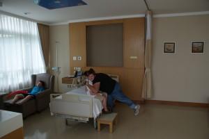 Eitan in his hospital room