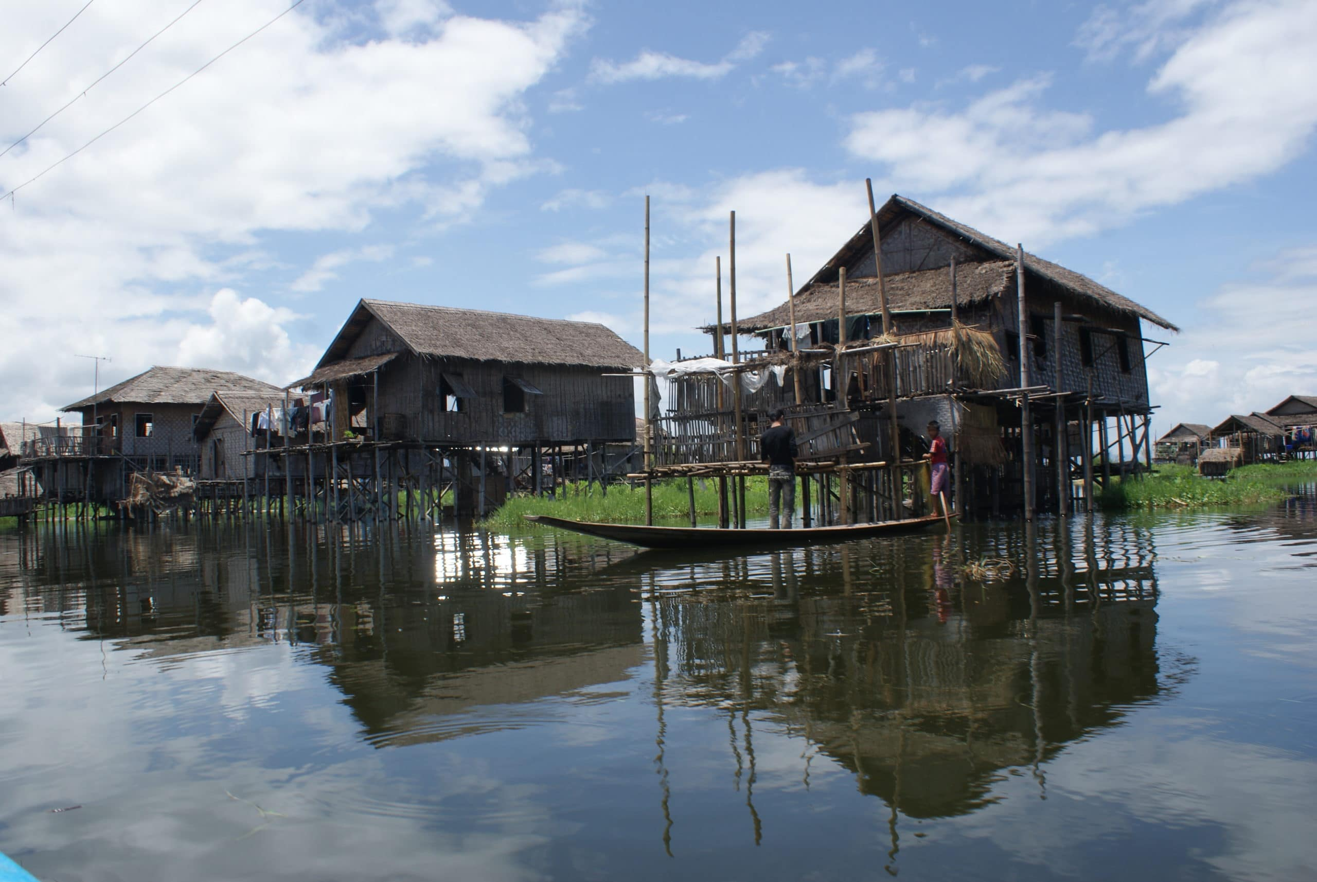 homes along water in cambodia